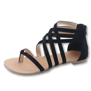 Women's Round Toe Linen Cross Back Zipper Closure Ankle-Length Sandals
