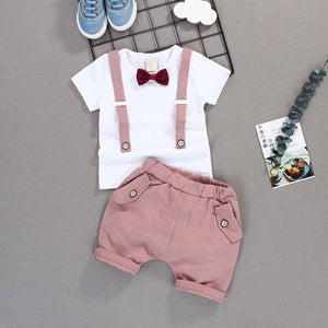 Kid's Round Neck Plain T-Shirt With Stripes Pocket Short Casual Set