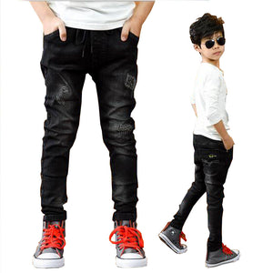 Kid's Elastic Drawstring Waist Plain Side Pocket Slim Denim Jeans