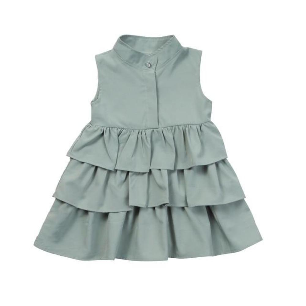 Kid's O-Neck Sleeveless Plain Front Open Button Ruffle Pattern Above Knee Outdoor Dress