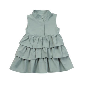 Kid's O-Neck Sleeveless Open Button Ruffle Pattern Above Knee Dress