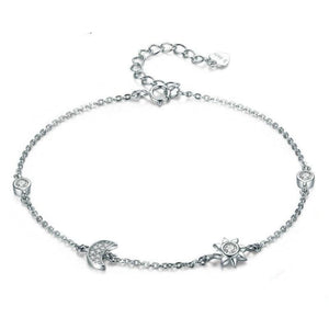 Women's 100% 925 Sterling Silver Star Moon Shape Zircon Bracelet