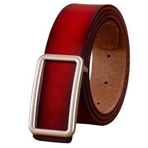 Women's Plain Genuine Leather Square Alloy buckle Waistband Belts