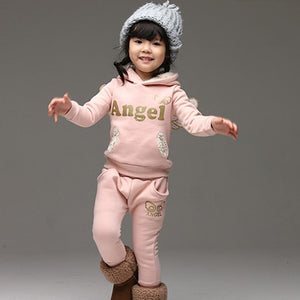 Kid's Long Sleeve Wings Hooded Pullover With Elastic Waist Pant Set