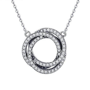Women's 100% 925 Sterling Silver Double Link Circle Zircon Necklace