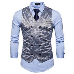 Men's V-Neck Sleeveless Floral Printed Double Breasted Formal Vests