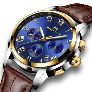 Men's Alloy Linen Leather Waterproof Pin Buckle Watch