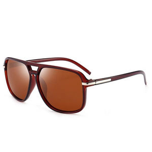 Men's Square Colorful Mirror Lens Thin Frame Polarized Sunglasses