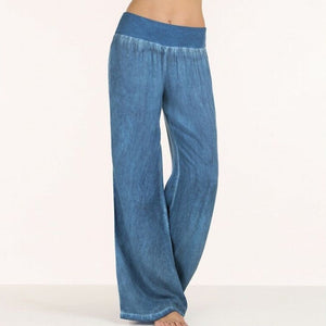 Women's Low Elastic Waist Plain Ankle-Length Flare Denim Pants