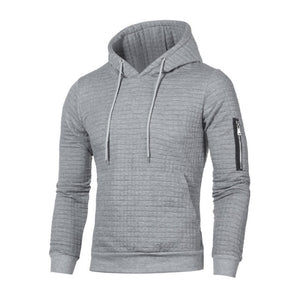 Men's High Neck Long Sleeve Plain Sit Pocket Patchwork Hooded Sweater
