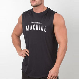 Men's Round Neck Sleeveless Letter Printed Loose Sportswear T-Shirt