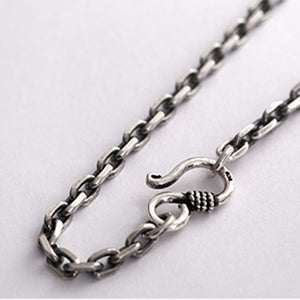 Men's 100% 925 Sterling Silver Round Buckle Pattern Hook Necklace
