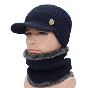 Men's Soft Plush Linen Fur Pattern Hat With Knitted Scarf Winter Set