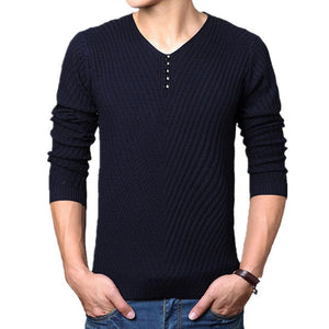 Men's V-Neck Long Sleeve Linen Button Patchwork Knitwear Sweaters