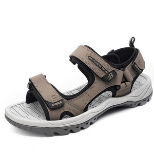 Men's Open Toe Leather Anti-Slip Back Strap Hook & Loop Sandals