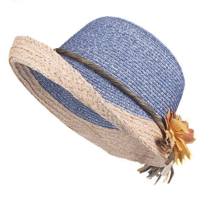 Women's Round Straw Linen Floral Lace-Up Summer Wear Brim Hats