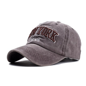 Men's Plush New York Embroidery Back Adjustable Closure Casual Hats