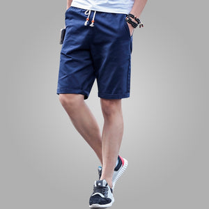 Men's Elastic Drawstring Waist Plain Side Pocket Casual Wear Shorts