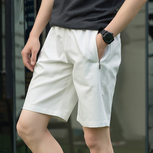 Men's Elastic Drawstring Waist Plain Side Pockets Bermuda Shorts