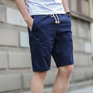 Men's Elastic Drawstring Waist Plain Side Pocket Bermuda Shorts