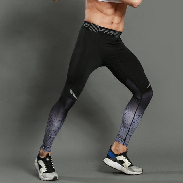 Men's Elastic Waist Stripe Color Print Compression Sportswear Leggings