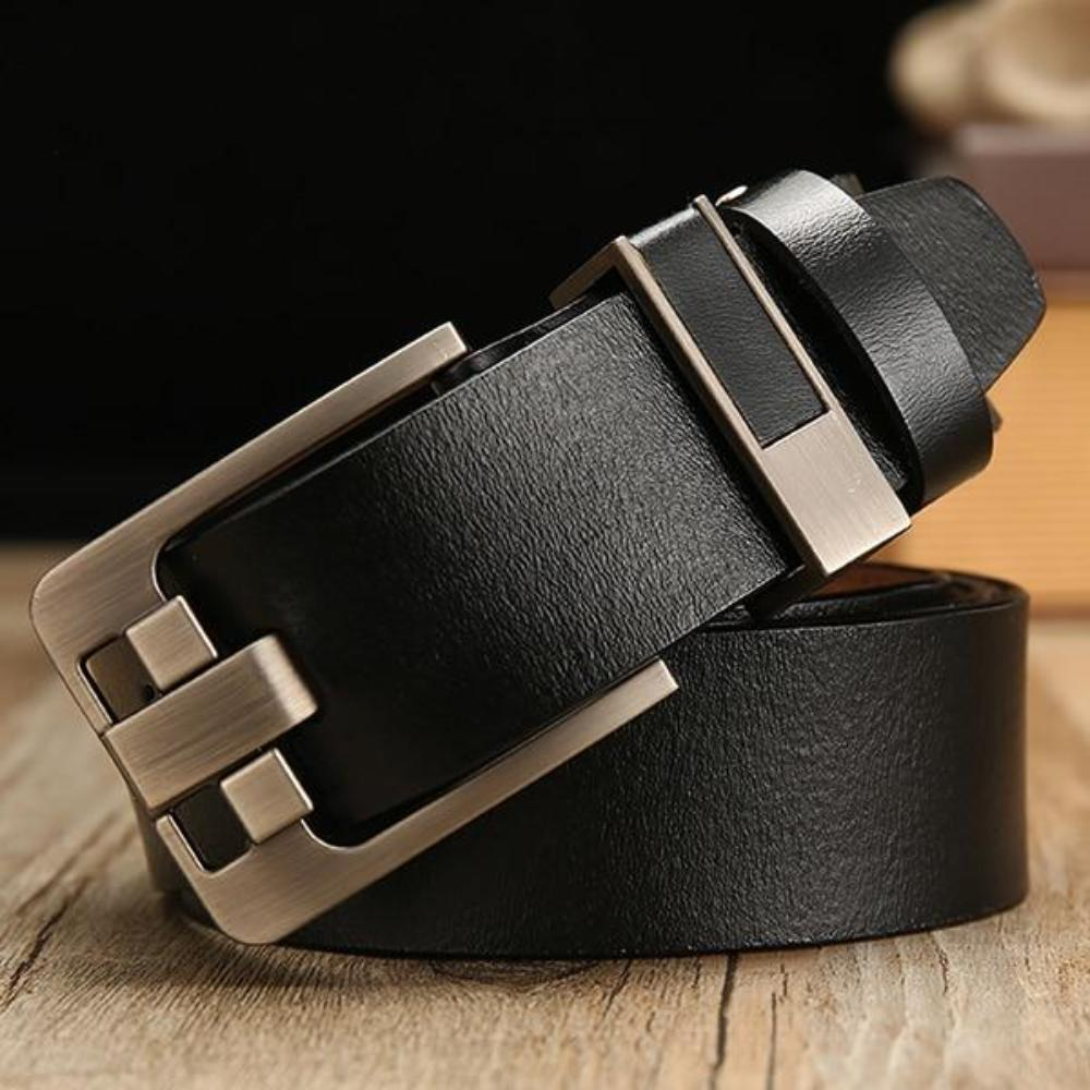 Men's Solid Genuine Leather Plain Waist Strap Alloy Square Pin Buckle Outdoor Belts