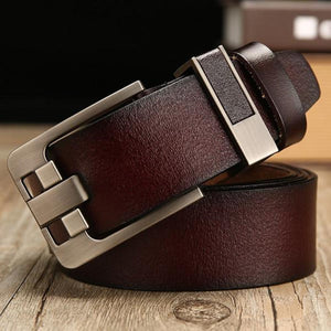 Men's Solid Leather Plain Waist Strap Alloy Square Pin Buckle Belts