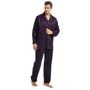 Men's Turn-down Collar Long Sleeve Shirt With Pant Sleepwear Outfits