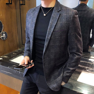 Men's Turn-down Collar Long Sleeve Plaid Single Button Pocket Blazers