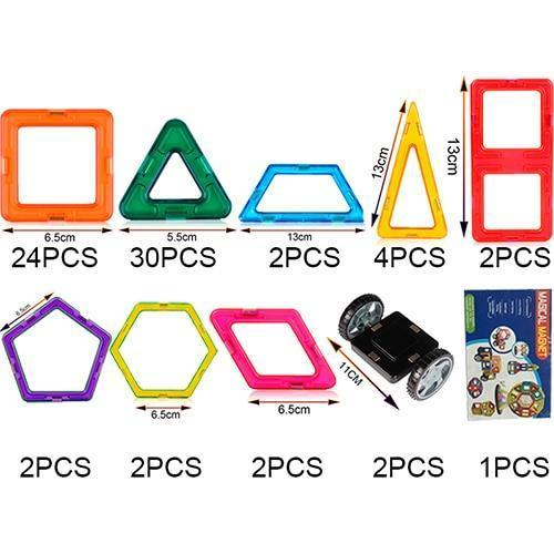 Kid's Solid Plastic Colorful Shape Construction Magnet Educational and Interactive Toy