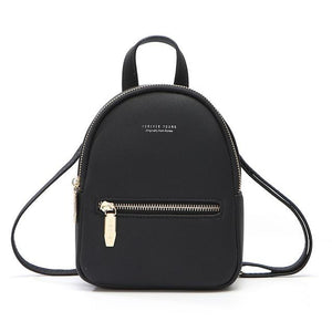 Women's Soft Leather Plain Slit Pocket Zipper Closure Backpack Bags