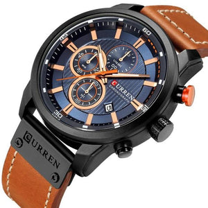 Men's Solid Alloy Round Plain Leather Auto Date Waterproof Watch