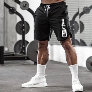 Men's Elastic Lace-Up Waist Letter Printed Workout Pocket Flare Shorts