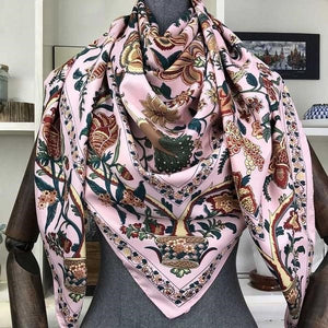 Women's Silk Square Floral Printed Neck Wrap Casual Wear Scarf
