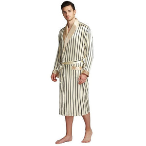 Men's Long Sleeve Linen Patchwork Waist Knot Pocket Nightwear Outfits
