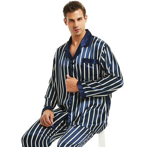 Men's Long Sleeve Striped Button Shirt With Elastic Waist Pant Set