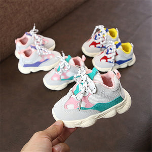 Baby's Round Toe Mesh Color Patchwork Cross Lace-Up Closure Sneakers