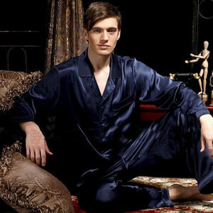 Men's Long Sleeve Plain Button Shirt With Pant Nightwear Set
