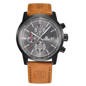 Men's Leather Patchwork Quartz Alloy Pin Buckle Watch