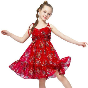 Kid's O-Neck Spaghetti Strap Floral Print Knee-Length Flare Dress