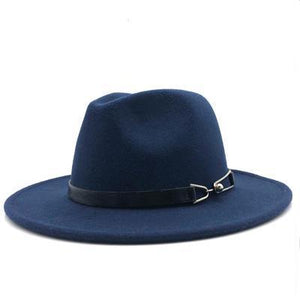 Women's Soft Plush Round Plain Alloy Buckle Belt Strap Vintage Hats