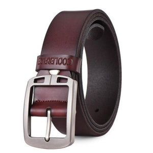 Men's Solid Leather Plain Alloy Pin Buckle Waist Strap Vintage Belts