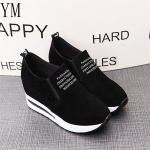 Women's Round Toe Flock Wedge Heel Slip-On Sportswear Ankle Sneakers