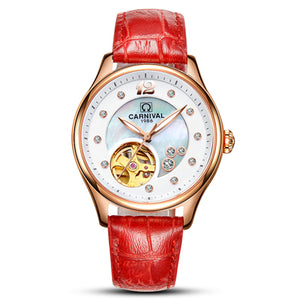 Women's Round Stainless Steel Leather Band Push Button Watch