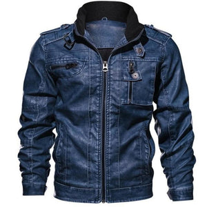 Men's Soft Leather O-Neck Long Sleeve Patchwork With Pocket  Jacket