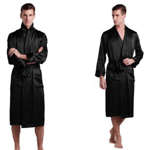 Men's V-Neck Sleeve Silk With Pocket Knee-Length Bathrobe Outfits