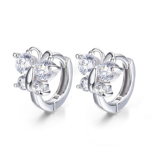 Kid's 100% 925 Sterling Silver Butterfly Cubic Zircon Stud Earrings