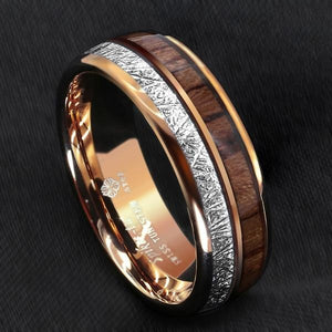 Men's 100% Tungsten Round Wood White Rhodium Stud Wedding Ring