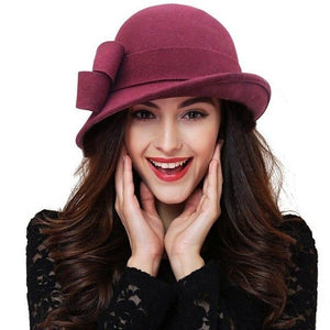Women's Soft Plush Plain Side Bow Knot Patchwork Formal Hats