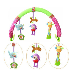Baby's Plush Colorful Animal Hanging Crib Stroller Interactive Toy